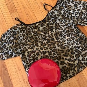 Tops - Playful Leopard print off-the-shoulder blouse